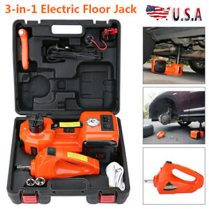 3 In 1 12v 5 Ton Car Electric Hydraulic Floor Jack W Impact Wrench Repair Tool