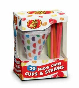 Jelly Belly Jb15928 Disposable Snow Cone Cups And Straws 20 pack Multicolored