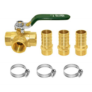 Joywayus 3 Way Shut Off Ball Valve 1 2 Hose Barb T Shaped Brass Fitting One