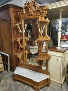 Antique Victorian Large Entry Hall Mirror Hall Tree Dressing Mirror