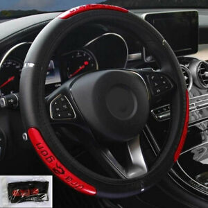 15in Red Black Car Steering Wheel Cover Anti Slip Pu Leather For Chevrolet Ford