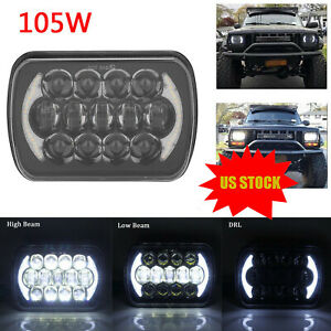 For 1986 1995 Jeep Wrangler Yj 1984 2001 Cherokee Xj 5x7 7x6 Led Headlight