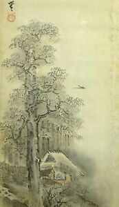 Japanese Painting Hanging Scroll Japan Landscape House Antique Old Art E378
