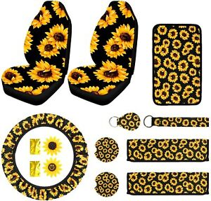 Sunflower Car Accessories Set 12 Pcs Seat Cover Keyring Pad Decor Cup Coaster Us