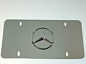 3d Mercedes Benz Star Logo Mirror Chrome Stainless Steel Front License Plate