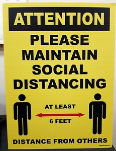 Attention Please Maintain Social Distancing Corrugated Plastic Signs 3 Pack