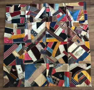 Antique Crazy Quilt Silk And Velvet Hand Embroidered Vintage Lap Quilt Farmhouse
