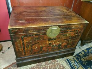 Antique Chinese Trunk Chest Hand Painted Well Made Wood Chest