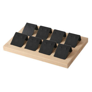 Wood Earring Card Holder W Tray For Jewelry Accessory Display 8 Pair Black