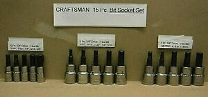 Craftsman Tools 15 Pc 1 4 3 8 Sae Metric Hex Allen Bit Socket Set new 15 Piece