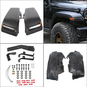 For 07 18 Jeep Wrangler Jk Top Front Fender Flares W Led Lights Inner Liners