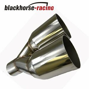 1pcs 2 5 in 3 5 out Straight Cut Duo Exhaust Tip Sliver Polished Stainless Steel