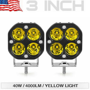 2x 3 40w Led Work Light Pods Amber yellow Driving Fog Offroad For Jeep Suv Atv