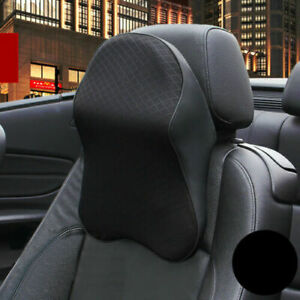 1x Car Seat Headrest Pad Memory Foam Pillow Head Neck Rest Support Cushion Black