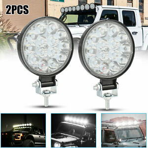 2x 42w Round 14 led Spot Work Light Bar Fog Driving Lamp Truck Tractor Suv Atv