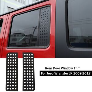 Car Rear Door Window Glass Strip Decals Cover Trim For 07 17 Jeep Wrangler Jk A