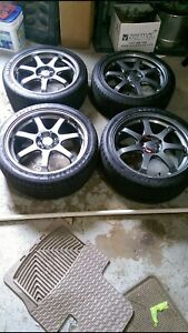 18 Honda Mugen Gp Wheels 5x114 mint Conditions Summer F1 Goodyear Tires