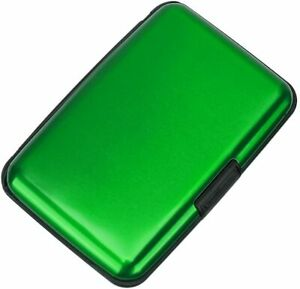 Travel Mini Rfid Wallet Id Business Credit Card Holder Aluminum Case Green