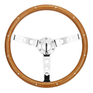 Universal 15 380mm Polished Spoke Wooden Steering Wheel With Rivet Horn Button