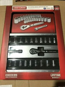 New Craftsman 24 Piece 1 4 Drive Ratchet And Socket Set W Foam Storage Tray