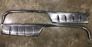 1955 56 Pontiac Star Chief Rear Wheel Well Stainless Quarter Moulding Trim Pair