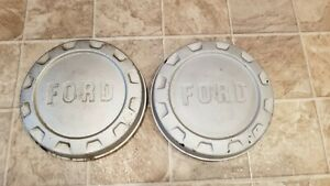 2 1960 s Ford Logo Bottle Cap Painted Dog Dish Pickup Truck Hubcaps Pair