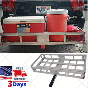 Heavy Duty Hitch Mount Cargo Carrier Rack Trailer Basket Luggage Folding Holder