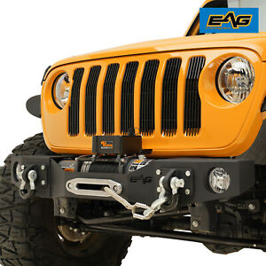 Eag Stubby Front Bumper Modular With Winch Plate Fit For 18 21 Jeep Jl Wrangler
