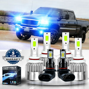 For Gmc Sierra 1500 2500 Hd 3500 2003 2006 8000k Led Headlight Fog Light Bulbs