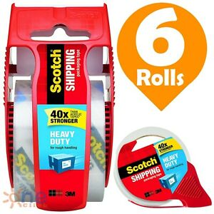 Scotch Shipping Packaging Tape Rolls With Dispensers 6 Heavy Duty Packing Tapes
