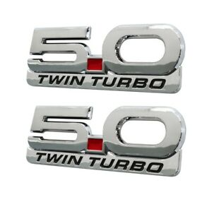 1979 2021 Mustang 5 0 Twin Turbo 5 25 Chrome Fender Emblems W Accent Badge 4pc