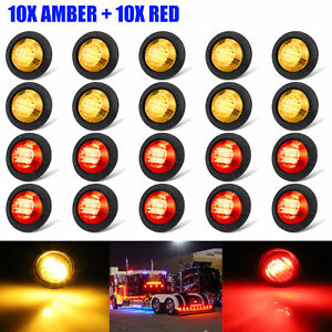 20x Smoked Amber Red Round Side Marker Lights Truck Trailer 3 4 Led Bullet Light
