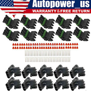 High Quality 10 COMPLETE KITS Weather Pack 3 Pin Sealed Connector Kit 16 14 GA $12.99