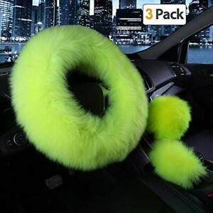 Car Steering Wheel Cover Gear Shift Handbrake Fuzzy Cover 1 Set 3 Pcs For Girl