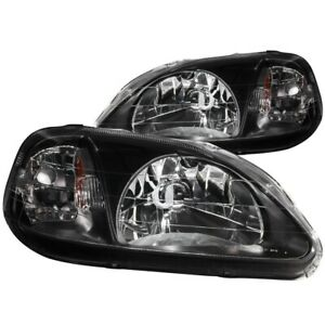 For 1999 2000 Honda Civic Ek Ej Lx Ex Si Headlights Lamps Black Left Right