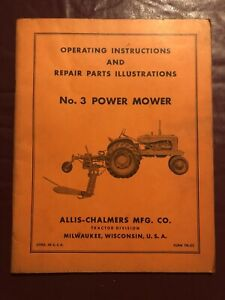 Allis chalmers No 3 Power Mower Operation Parts Manual Tractor Farm Old