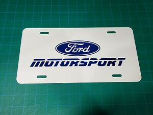 1 X Ford Motorsport Blue Decal White Aluminum License Plate