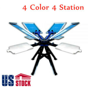 Us 4 Color 4 Station Screen Printing Machine T shirt Printer 2 Wheel Equipment