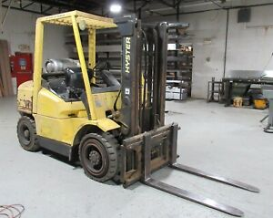 8 000 Lb Hyster Lpg Pneumatic Tire H80xm Forklift 122 Lift Height W sideshift