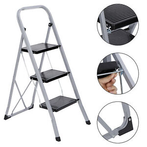 3 Steps Ladder Folding Anti slip Safety Tread Industrial Home Use 300lbs Load