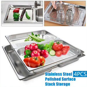 4 Pack Stainless Steel Pans Food Veg Fruit Pans Perforated Steam Table Pans