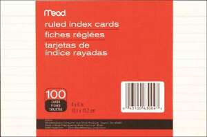 Mead Index Cards 4 x6 100 pkg Ruled White 043100630043
