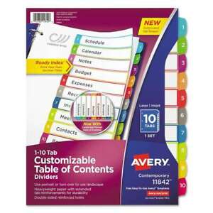 Avery Ready Index Table Of Contents Dividers Multicolor Tabs 1 072782118426