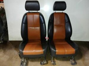 2008 Suburban Pair Of Black Brown Leather Front Seats 1028345