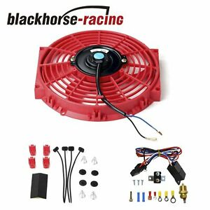Electric Radiator 10 Cooling Fan Red 3 8 Probe Ground Thermostat Switch Kit