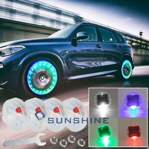 4x Waterproof Solar Energy 15mode Colorful Car Wheel Hub Tire Led Light W Wrench