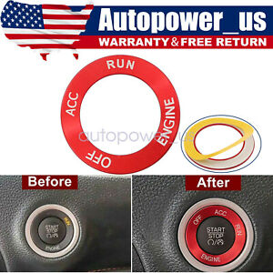 Engine Start Stop Button Switch Cover Knob Red Trim For Dodge Challenger Charger