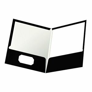 Oxford Laminated Twin pocket Folders Letter Size Black Holds 100 Sheets Box O