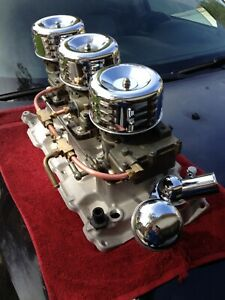 Sbc Tri Power Intake Rochester 2 Jet Carbs Complete Ready To Go