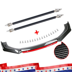 Carbon Fiber Universal Front Bumper Lip Spoiler Splitter Protector Kit Red Layer